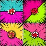Satz leerer Comic-Buch-Arthintergrund Gegen Illustration Gestaltungselement für Fahne, Plakat, Flieger stock abbildung