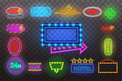 Satz Leuchtreklamelicht Nachtan der transparenten Hintergrund-Vektorillustration, helle glühende elektrische advertis Lizenzfreie Stockfotografie