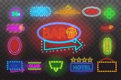 Satz Leuchtreklamelicht Nachtan der transparenten Hintergrund-Vektorillustration, helle glühende elektrische advertis Stockfoto