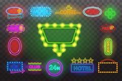 Satz Leuchtreklamelicht Nachtan der transparenten Hintergrund-Vektorillustration, lokalisierte helle glühende elektrische adverti Lizenzfreie Stockfotografie