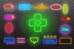 Satz Leuchtreklamelicht Nachtan der transparenten Hintergrund-Vektorillustration, lokalisiertes helles Glühen elektrisch annoncie Lizenzfreies Stockbild