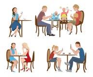 Satz Leute in einem Café Lizenzfreie Stockbilder