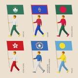Satz Leute mit Flaggen von Asien- und Ozeanien-Ländern Stockbilder