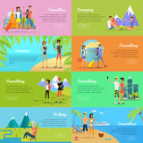 Satz Leute Vector im Urlaub flache Netz-Fahnen Lizenzfreie Stockfotos