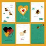 Satz Liebes-Karten mit netten Bienen Stockfotos