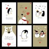 Satz Liebes-Karten mit Tieren Lizenzfreie Stockfotos