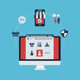 Satz on-line-Einkaufen Stockfotos
