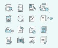 Satz lineare Designdokumente der Ikonen für Geschäft, Finanzierung und Kommunikation Auch im corel abgehobenen Betrag Stockbilder