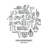 Satz lineare Ikonen auf Brandschutz Stockfotos
