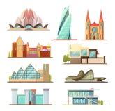 Satz Linienhandels- und Wohngebäude, Entwurfsvektordesign, machen Ihre eigene Stadt mit diesen Sammlung Stockfotos