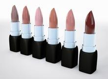 Satz Lippenstiftaktfarben Beige Lippenstift in Folge lokalisiert auf Weiß Illustration 3d der natürlichen Farbe des Lippenstifts Lizenzfreies Stockbild