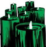 Satz Lit-Grün-Kerzen Lizenzfreie Stockfotografie