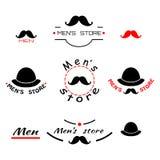 Satz Logo, Emblem und brend der Speicher der Weinlesemänner mit Text Stockfotos