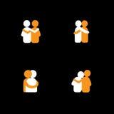 Satz Logodesigne von den Freunden, die sich umarmen - vector Ikonen Stockbild