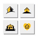 Satz Logohaus- oder Ausgangsdesigne - vector Ikonen Stockfotos