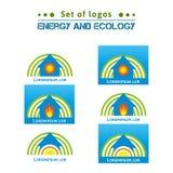 Satz Logos über Energie und Ökologie, Heizungshäuser ENV, JPG Stockbild