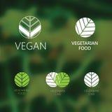 Satz Logos des strengen Vegetariers Stockfotos
