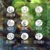 Satz Logos, Ikonen, Aufkleber, Aufkleber oder Stempel Stockfotos