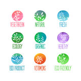 Satz Logos, Ikonen, Aufkleber, Aufkleber oder Stempel Lizenzfreies Stockbild