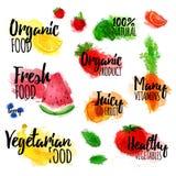 Satz Logos, Stempel, Ausweise, Aufkleber für Naturprodukte, gesundes Lebensmittel, organisch Frucht-, Beeren- und Gemüseelemente Stockfotos