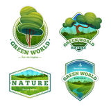 Satz Logos, Zeichen, Ausweise mit Natur, Landschaft Lizenzfreie Stockfotos