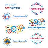 Satz Logostadttätigkeiten Rest in einer Stadt, Leben in der Stadt Stockbilder