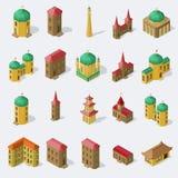 Satz lokalisierte öffentliche Gebäude in der Vektorillustration der isometrischen Ansicht Lizenzfreies Stockbild