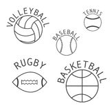 Satz lokalisierte Bälle für Volleyball, Rugby, Basketball, basebal Stockbilder