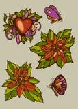 Satz lokalisierte Blumen, Herz und Schmetterlinge Lizenzfreies Stockfoto