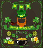 Satz lokalisierte Gegenstände auf St- Patrick` s Tagesthema Stockfoto