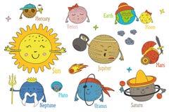 Satz lokalisierte lustige Planeten der Karikatur des Sonnensystems Stockfoto