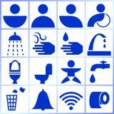 Satz lokalisierte Symbole/Ikonen/Zeichen für Toiletten des Gebrauches öffentlich lizenzfreie abbildung