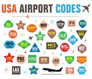 Satz lokalisierte Vektor-Tags mit USA-Flughafen-Codes lizenzfreie stockfotografie