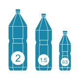 Satz lokalisierte Wasserflaschenikonen Lizenzfreies Stockbild