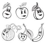 Satz lustige Frucht der Karikatur Schwarzweiss Lizenzfreies Stockfoto