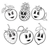 Satz lustige Frucht mit 6 Karikaturen Schwarzweiss Lizenzfreies Stockbild