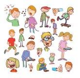 Satz lustige Karikaturen, Vektorillustration Lizenzfreies Stockbild