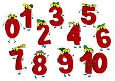 Satz lustige lebhafte rote Zahlen 3D Stockfotos