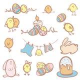 Satz lustige Ostern-Charaktere Stockbilder