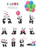 Satz lustige Pandas der Karikatur Stockfotos