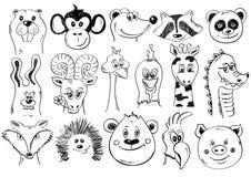 Satz lustige Skizzen-Tiergesichts-Ikonen Stockfotos