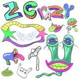 Satz lustige verrückte Charaktere, Zeichen, Ausländer, eingebildet, Warenkorb stock abbildung