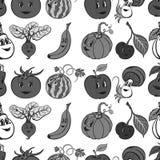 Satz lustiges Gemüse- und Fruchtgrau der Karikatur Stockfotos
