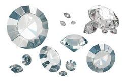 Satz Luxusdiamanten lokalisiert auf weißen Hintergründen Stockbild