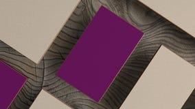 Satz Luxuseinladungsvisitenkarten auf hölzernem Hintergrund Modell für das Einbrennen lizenzfreie abbildung