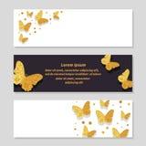 Satz Luxusfahnen mit goldenen funkelnden Schmetterlingen Lizenzfreie Stockbilder