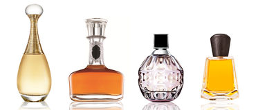Satz Luxusparfümflaschen Stockfotografie