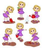 Satz Mädchen im Garten Stockbilder