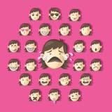 Satz Mädchengesichter, die verschiedene Gefühle zeigen Karikatur scherzt Illustrations-Reihe Lizenzfreie Stockfotos