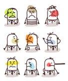 Satz männliche Avataras - schlechte Stimmungen Stockbild
